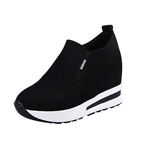 Sneakers Damen, Sunday Turnschuhe Freizeitschuhe Frauen Fashion Sport Laufen Wandern Dicke Boden Outdoor Reißverschluss Plateauschuhe