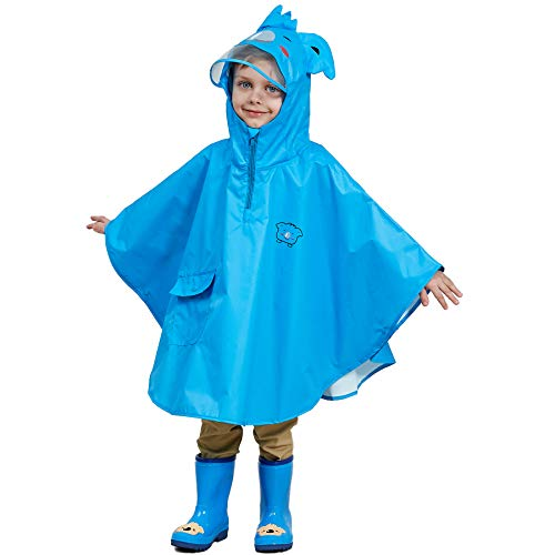 LIVACASA Kids Hooded Rain Poncho 3D Cute Animal Design Transparent PVC Hat Brim Free Movement 4-8 Years