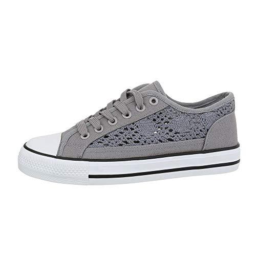 Ital-Design Damenschuhe Freizeitschuhe Sneakers Low Canvas Hellgrau Gr. 38 (Sneaker Design)