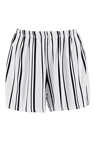 3013a01ebc8724 Weiß Damen Hannah Gestreifte Shorts Aus Jersey Weiß
