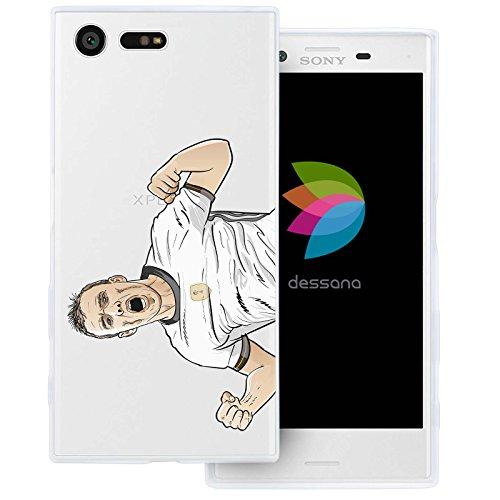 dessana Fußballer Transparente Silikon TPU Schutzhülle 0,7mm Dünne Handy Tasche Soft Case für Sony Xperia X Compact Torjubel