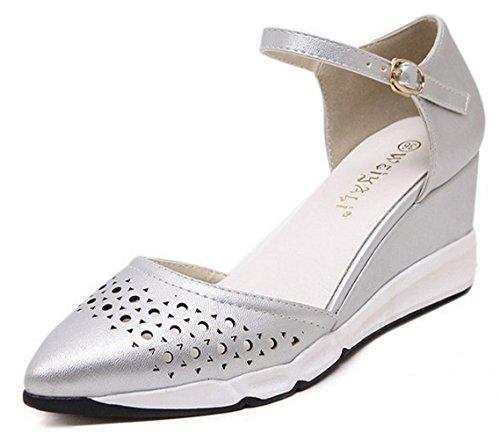 HYLM Sandali femminili Nuova pendenza puntata con sandali Scarpe da ufficio comode Scarpe da lavoro Silver