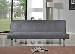 Faux Suede 3 Seater Quality Sofa Bed - Click Clac fabric sofabed in GREY