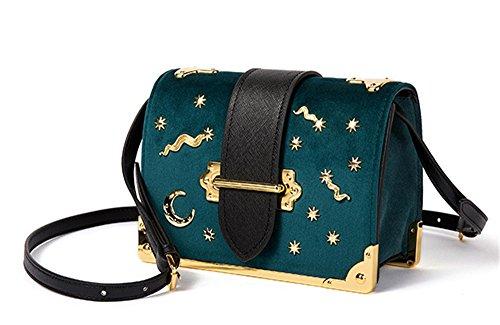 Retro Flip Tasche Kleine Box Mond Damen quadratische Herbst Grün Winter und diagonal XinMaoYuan Paket goldener Schulter Schnalle samt q1YAt81