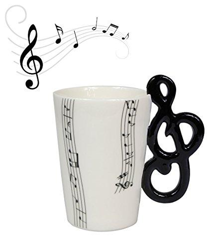 Vetrineinrete® tazza con manico a forma di strumenti musicali in confezione regalo fantastica idea regalo compleanno chitarra violino pianoforte clarinetto tromba tazze (nota musicale) e5