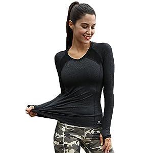 Matymats Damen Langarmshirt Workout Laufshirt Tops Langarm Yoga T-shirt Laufende Gym Sport Shirt Fast Dry