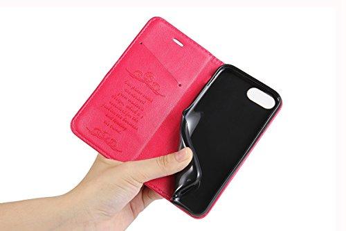 iPhone 7 Plus Handycover, LifeePro für iPhone 7 Plus Crazy Horse Pattern PU Leder Handycover mit Flip Stand Funktion Fotorahmen und Kartensteckplätze TPU Silikon Weiche Abdeckung Magnetverschluss Schw Pink