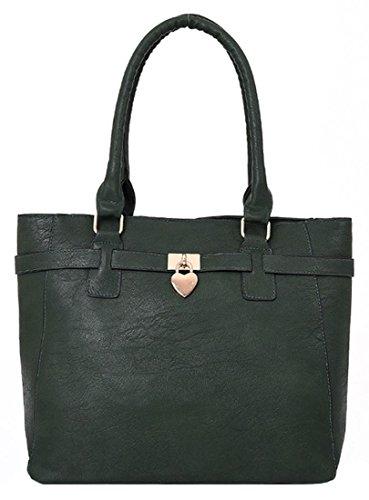 Kukubird Janice Ecopelle Con Cuore Di Metallo A Forma Di Ciondolo Dettaglio Top-manico Tracolla Tote Handbag Green