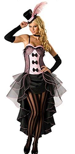 Forever Young - Damen Burlesquetänzerin-Kostüm - Mit Hut & Handschuhen - Rosa - Größe - Varieté Burlesque Kostüm