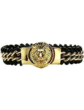 Daesar Edelstahl Armbänder Herren Leder Braided Gold Lion Kopf Schwarz Leder Straps 25.7X2.5CM