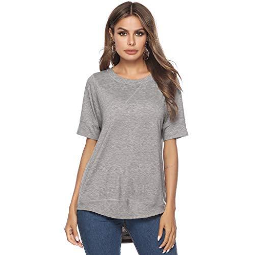 Zegeey Damen T-Shirt GroßE GrößEn Einfarbig Rundhals Basic Top Oberteil Blusen Tops Shirts Tunika Schicker Elegant LäSsige Lose(Grau,EU-36/CN-S)