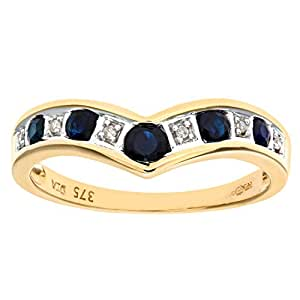 Naava 9 ct Yellow Gold Women's Diamond and Sapphire Ring