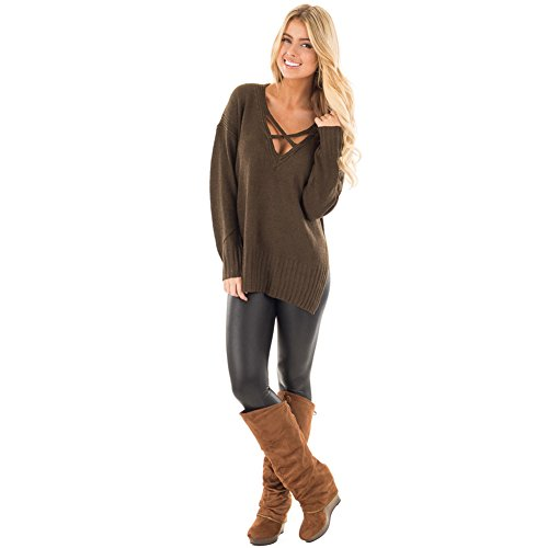 HUA&X Col en V femmes Casual manches longues lâche Haut Tricot Pull Sweater sweat-shirts pulls brown