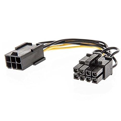 Lindy Câble adaptateur d'alimentation PCIe 1x 6 pins femelle vers 8 pins mâle