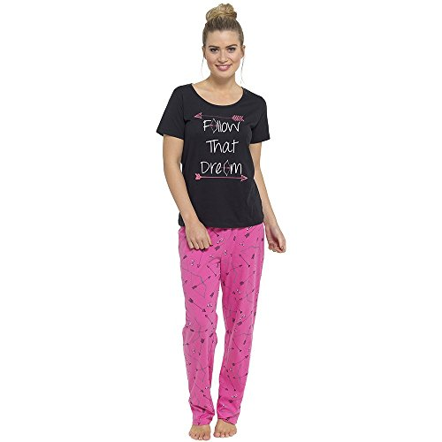 Tom Franks - Grenouillère - Ensemble pyjama - Slogan - Femme Noir/rose