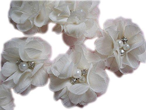 YYCRAFT 20 Stück Chiffon Blumen mit Strass und Perlen Hochzeit Dekoration/Haar Accessoire Handwerk/Nähen Craft(Elfenbeinfarben,5cm)