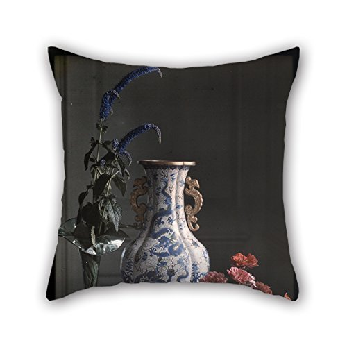 beautifulseason 20 X 20 Inches/50 by 50 cm Oil Painting Frederick S. Dellenbaugh (American - Still Life with Ornate Chinese Vase Throw Pillow Case,Two Sides Ornament and Gift to Pub,Sofa,Shop,hom - Texas Wein