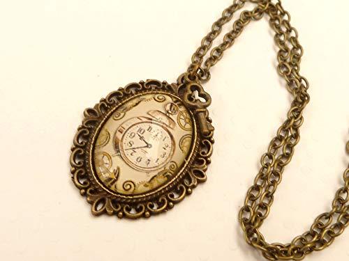 Collar con reloj steampunk estilo vintage
