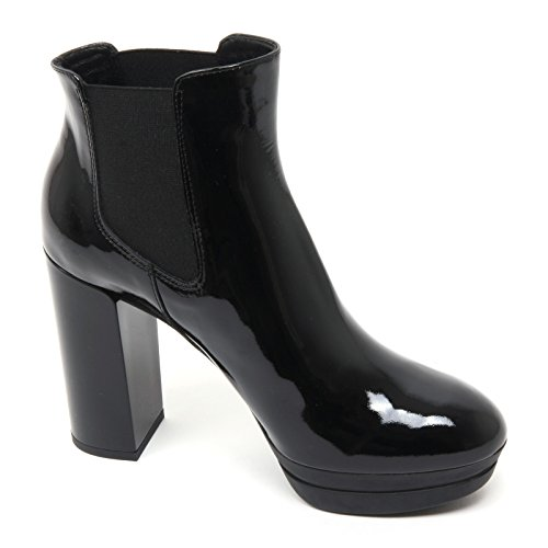 B7402 tronchetto donna HOGAN H299 OPTY stivaletto nero vernice shoe boot woman Nero