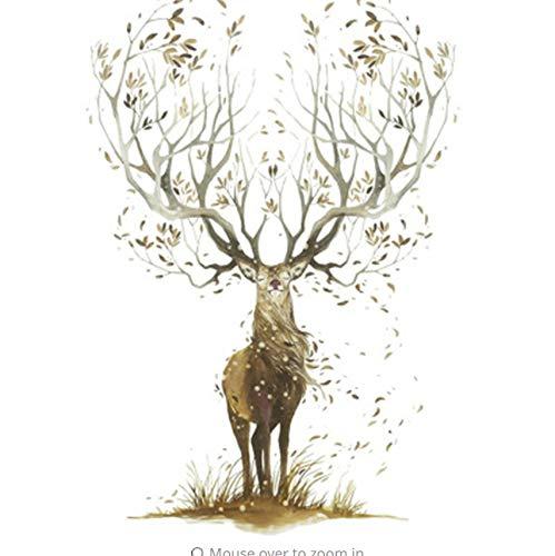 Zybnb Elch Wandaufkleber Wohnzimmer Schlafzimmer Tapete Poster Kunst Große Baum Elch Horn Gras Wand Grafik Dekoration Aufkleber
