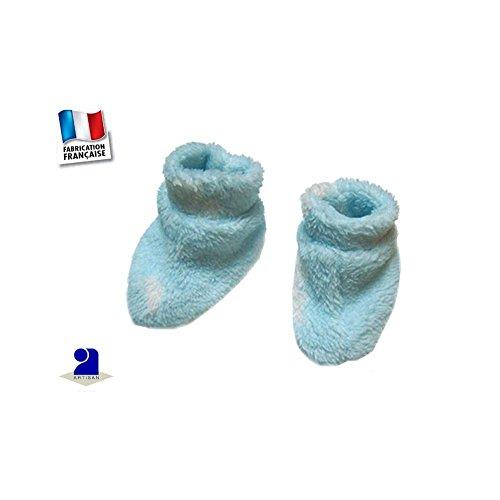 Poussin bleu - Chaussons polaire à poils longs, ciel imprimé nuages 5c62012d8b0