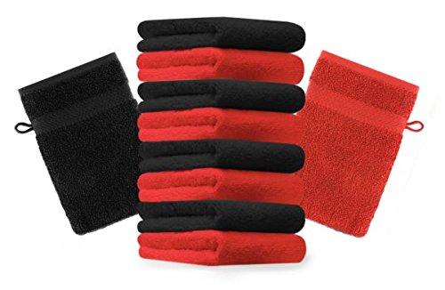Betz lot de 10 gants de toilette taille 16x21 cm 100% coton Premium couleur rouge, noir