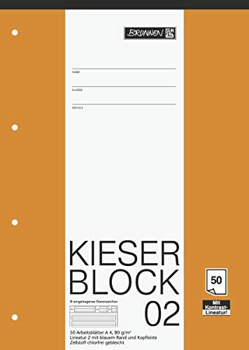 Brunnen 1042942 KIESER-Block Lineatur 2 (A4, 50 Blatt, Gelocht, 80g/m², Klasse 2) - 10er Pack
