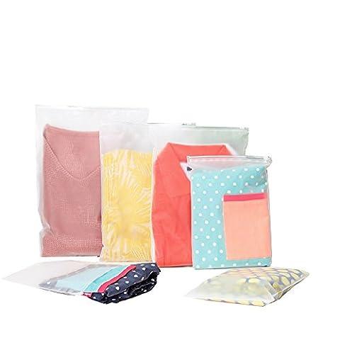 Travel Space Saver Bags Multifonctionnel Waterproof Plastic Ziplock Space Saving Bags pour Blouse Blouse Chaussettes Stocking Underwear Soutien-gorge et Lingerie Travel Laundry Bag (3PCS) (moyen)