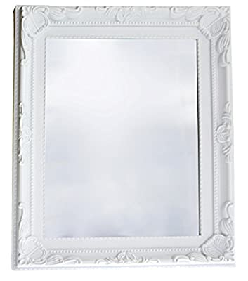 White Ornate Mirror French Shabby Chic 28 cm x 23 cm - inexpensive UK light shop.