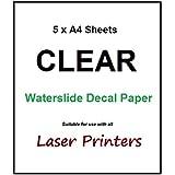 Lot de 5feuilles de papier transfert A4pour impression Laser–Transparent