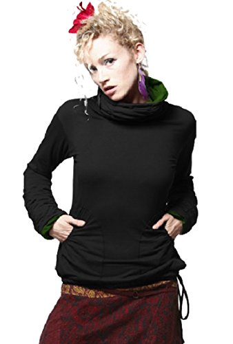LONG SLEEVES TOP, GRUNGE TOP, GEKKO TOP, POLO NECK TOP (S / M - (UK 8 / 10), BLACK with GREEN INSIDE)