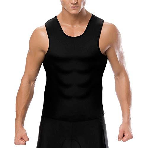 Herren Weste Korsett, Lanking Running Belly Sweat Sweatshirt Sport Fett Bekleidung Fitness ärmellose Enge Weste (schwarz innen gelb, XL)