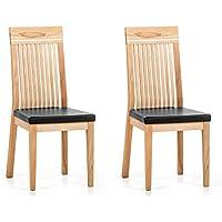 Marchio Amazon -Alkove Hayes - Sedia per tavolo da pranzo, 45 x 59 x 102 cm, nero/faggio, set da 2