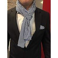 Exklusiver Herren Schal mit passendem Einstecktuch in Blau-Weiß gestreift 100% BW