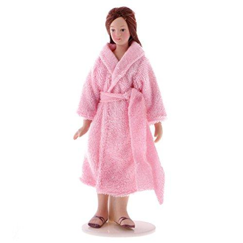 Nrpfell 1/12 Escala Modelo en Miniatura Gente de casa de munecas Una muneca Senora Vestida con Pijama Figurita para munecas Decoracion de casa