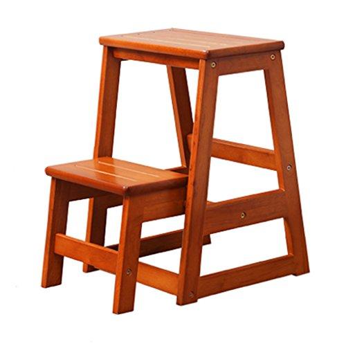 ERRU- Marchepieds escamotables Tabouret d'échelle en bois solide de pliage de double-usage miel couleur Creative ménage 2 étapes tabourets d'escabeau de cuisine de meubles (40.5 * 51.5 * 55.3cm)