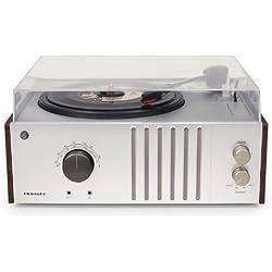Crosley Player - Tocadiscos (estilo maletín con 3 velocidades,Clavija inglesa. altavoces estéreos incorporados y radio AM/FM) marrón/gris