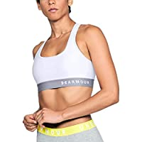 Under Armour Women's Armour Mid Crossback Bra, White (White/Steel), Small