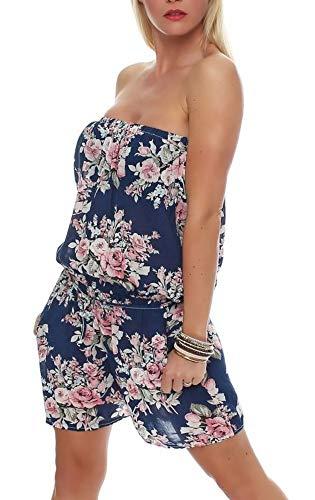 Malito Damen Einteiler mit Blumenmuster   kurzer Overall mit Stoffgürtel   Jumpsuit - Playsuit - Romper 1496