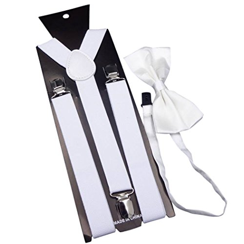 Mens Suspender, Fascigirl Y Back Clip Verstellbare Elastische Hosenträger und Fliege Set für Männer (Benutzerdefinierte Hose Kleid)