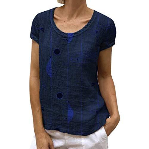 XNBZW Tunika Top Frauen Damen Sommer Kurzarm Druck Beiläufige T-Shirt Lose Bluse(Blau,L) - Frauen Honey Drops