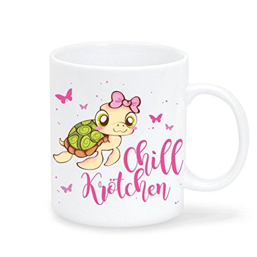 """Keramik Kaffeetasse Schildkröte mit Schriftzug """"Chillkrötchen"""" von Wandtattoo-Loft /wahlweise..."""