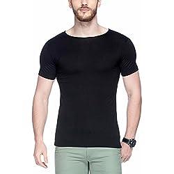 Tinted Men's Solid Slim Fit T-Shirt (TJ102VH_Black_Large)