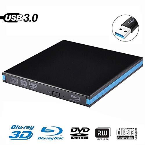 Externes CD-ROM-Laufwerk, USB 3.0-DVD-Player Externes optisches Blu-ray-Laufwerk BD-RE von Bluray für Windows 10/8 / XP- und Linux-Bones Apple Mac Mac Pro,Schwarz