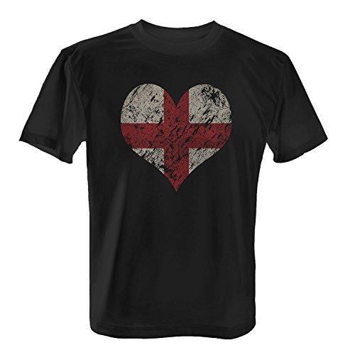 Fashionalarm Herren T-Shirt - I Love England | Fun Shirt Trikot mit Vintage Flagge Print für Fußball & UK Fans | London Urlaub Städte Trip | EM & WM Schwarz
