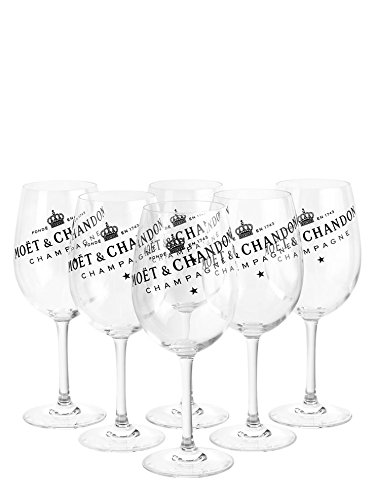 6 x Moët & Chandon Champagner Glas Gläser Set Ice Imperial Echtglas klar mit schwarzem Schriftzug (6 Stück)