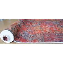 Tela de alfombra roja con estampado, estilo vintage marroquí, se venden por metro