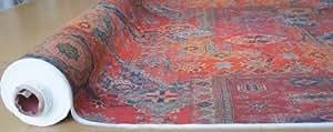 Fabric Tapis rouge en tissu imprimé design marocain Kilim style vintage vendu au mètre