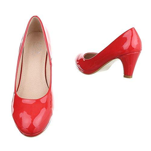 Klassische Pumps Damenschuhe Geschlossen Pump Plateau Ital-Design Pumps Rot