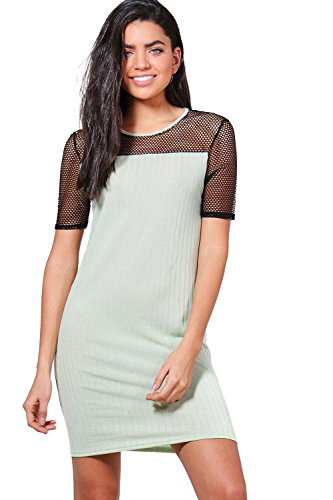 Damen Salbei Vanessa Kleid Aus Rippstrick Mit Netzapplikation Salbei